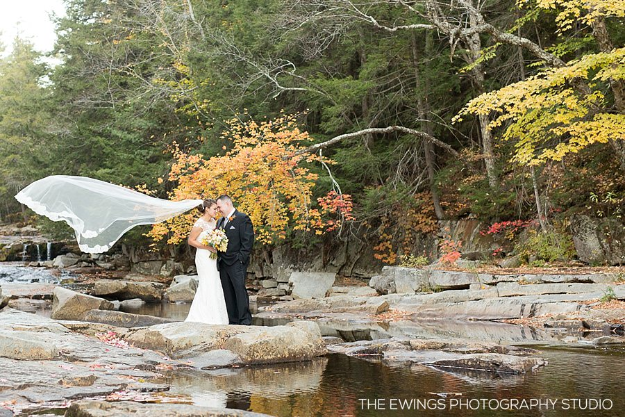 NH wedding photographer at Jackson Falls near Whitney's Inn in Jackson NH