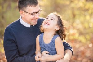 hudson ma family pictures outside portrait session with dad and daughter