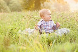 outdoor baby session with 6 month old baby boy in princeton ma