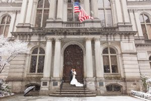 snowy omni parker house wedding in boston winter wedding photographers