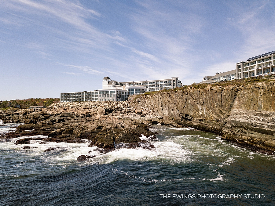 Aerial photograph of the Cliff House in Ogunquit Maine, a gorgeous oceanfront wedding venue
