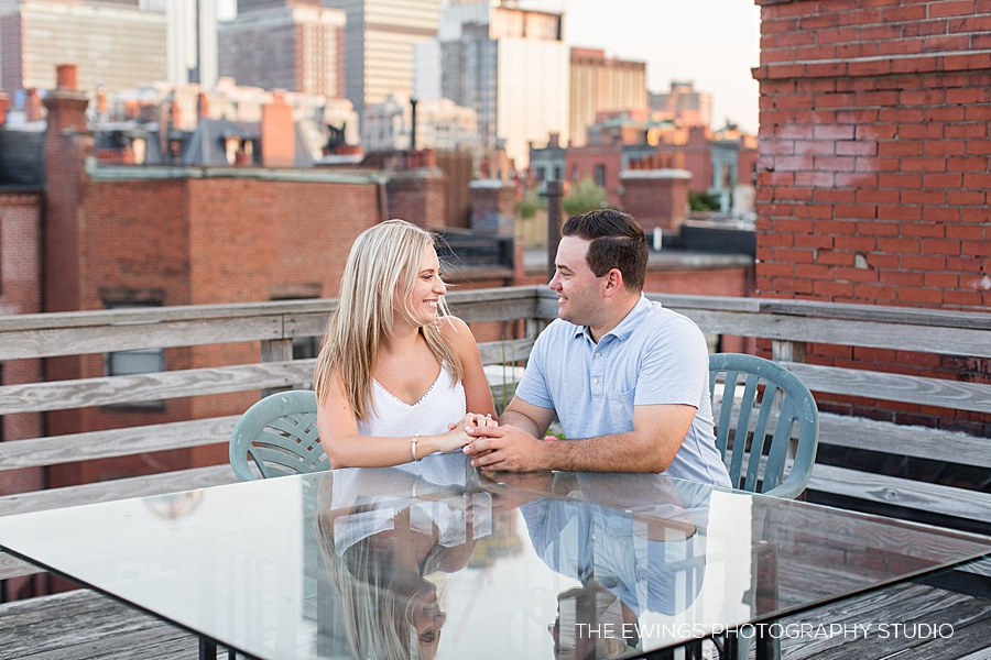 A rooftop Boston engagement session
