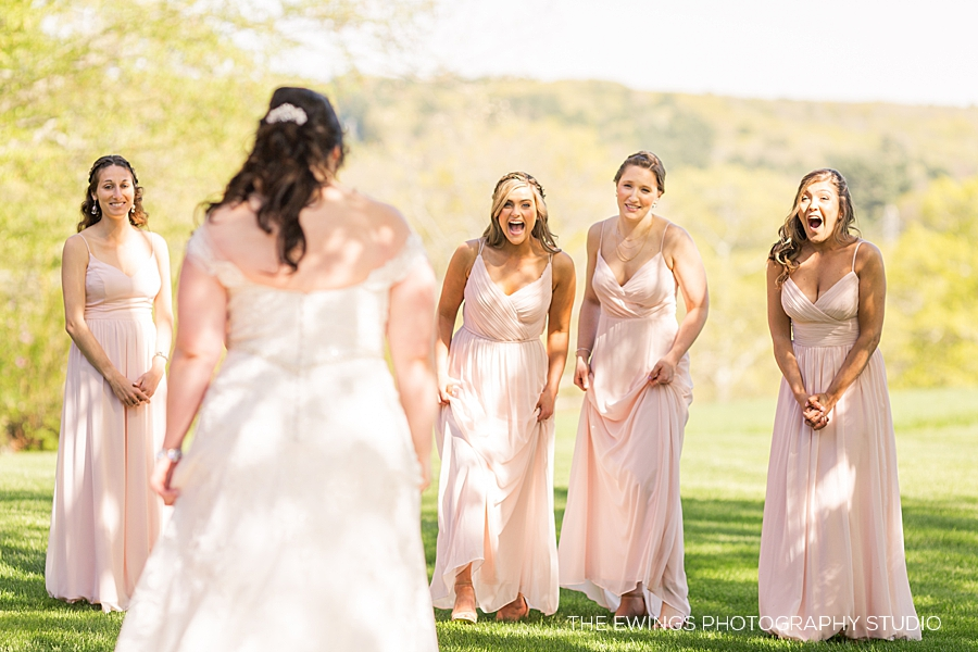 adorable bridesmaid first look at Zukas part 2