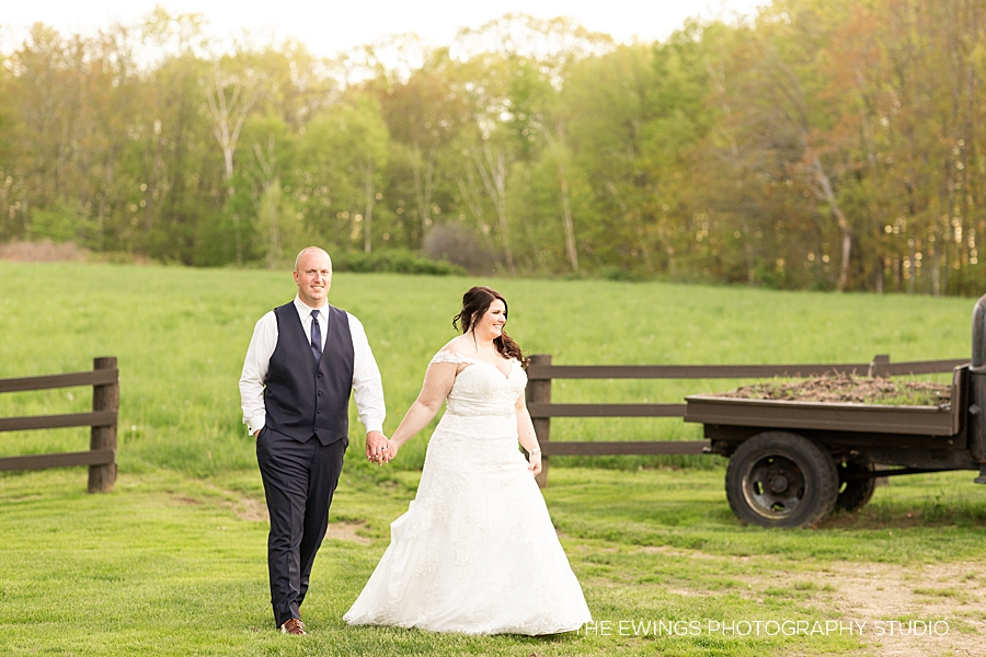 farm wedding portraits of bride and groom in massachusetts