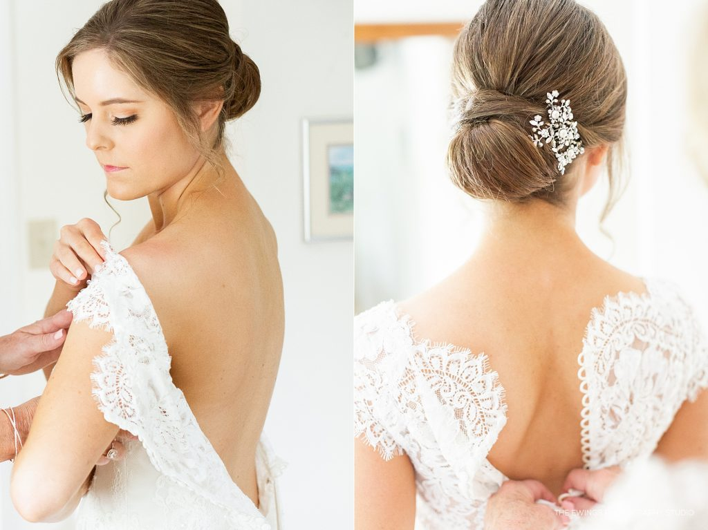 Kleinfeld wedding gown for Cape Cod wedding bride in Falmouth