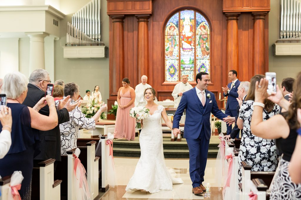 Just married at Wedding ceremony at Christ the King in Falmouth