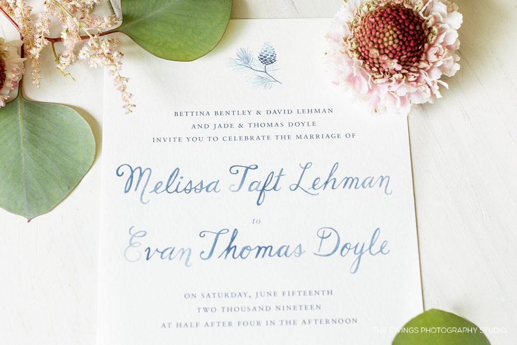 Watercolor wedding invitations photographed by The Ewings Photography Studio in Gloucester MA.