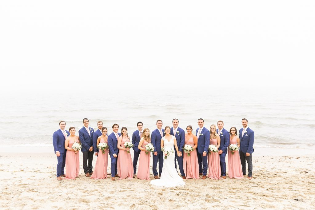 Popponesset wedding party portraits on the beach in Falmouth.