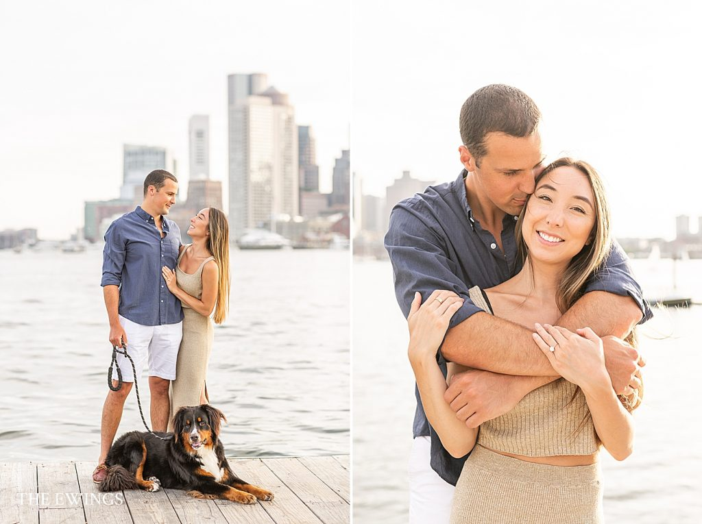 Here is a beautiful engagement session in Boston, with views of the city and their sweet dog.