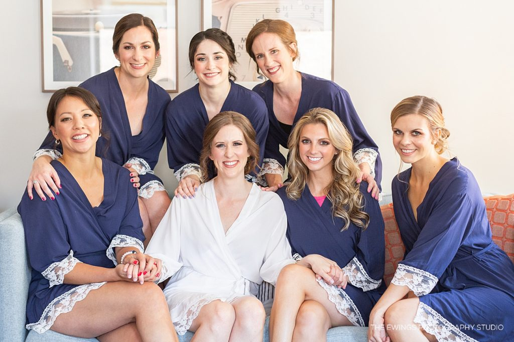 A Glen Magna Farms bridal party, with bride prep at Hotel Salem!