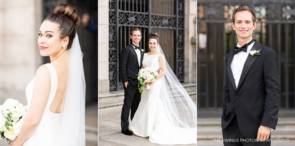 Gorgeous bride and groom portraits in front of the Boston Public Library just before their ceremony begins.