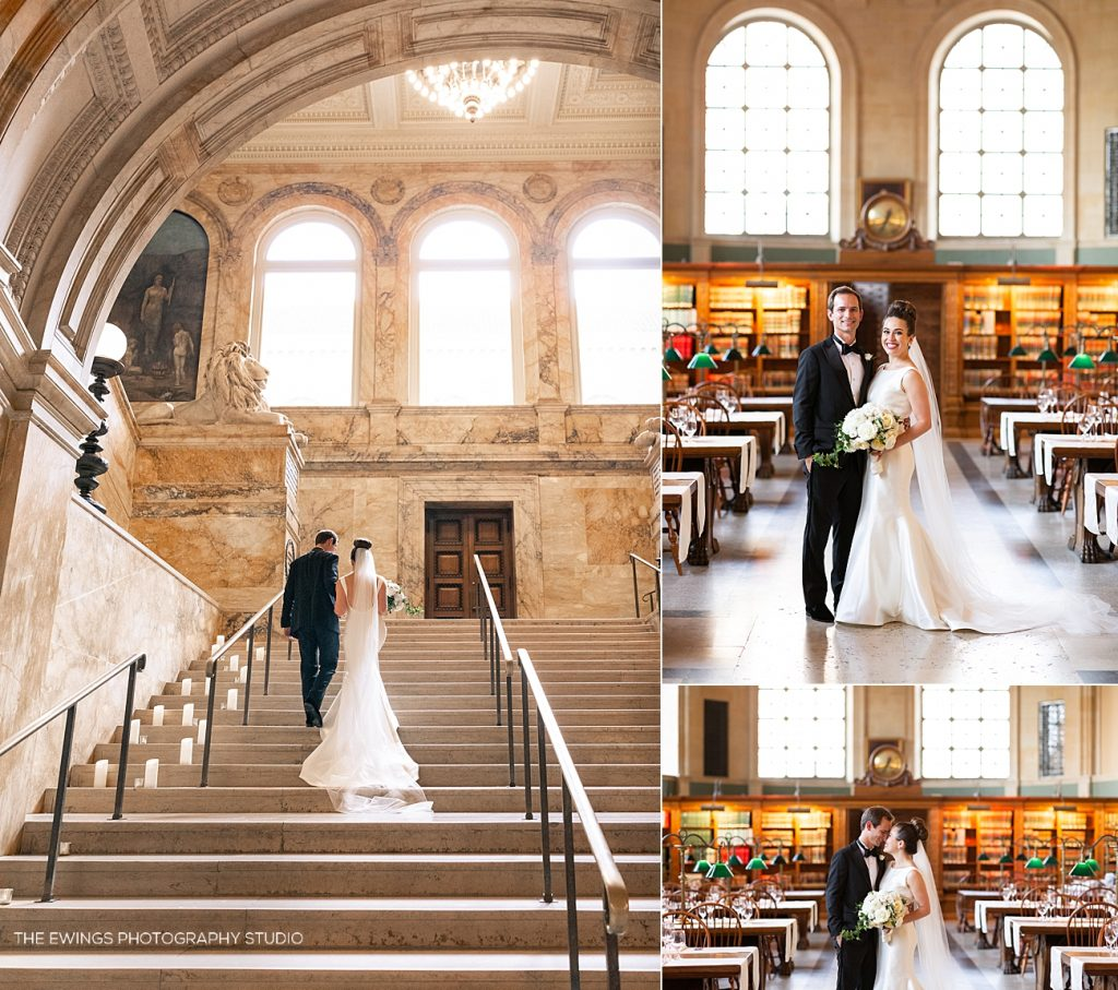 Gorgeous bride and groom portraits on the steps of the Boston Public Library just before their ceremony begins.