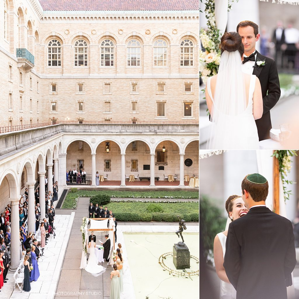 Want a romantic, elegant, beautiful wedding venue in Boston? The Boston Public Library is it. Here is a birds-eye view of the courtyard set for a wedding ceremony.
