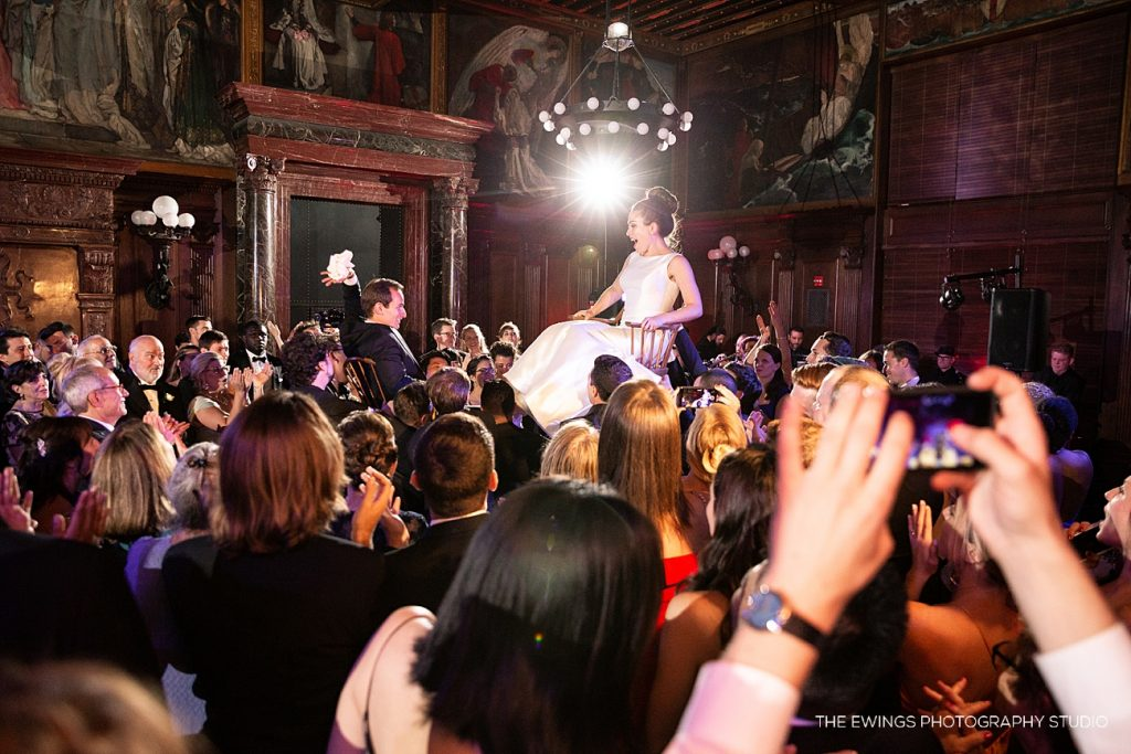 The Hora at the Boston Public Library during their jewish wedding celebration!