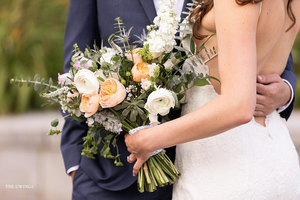 A bride's organic bouquet for a summer wedding at 9OFS, Boston's only rooftop wedding venue.