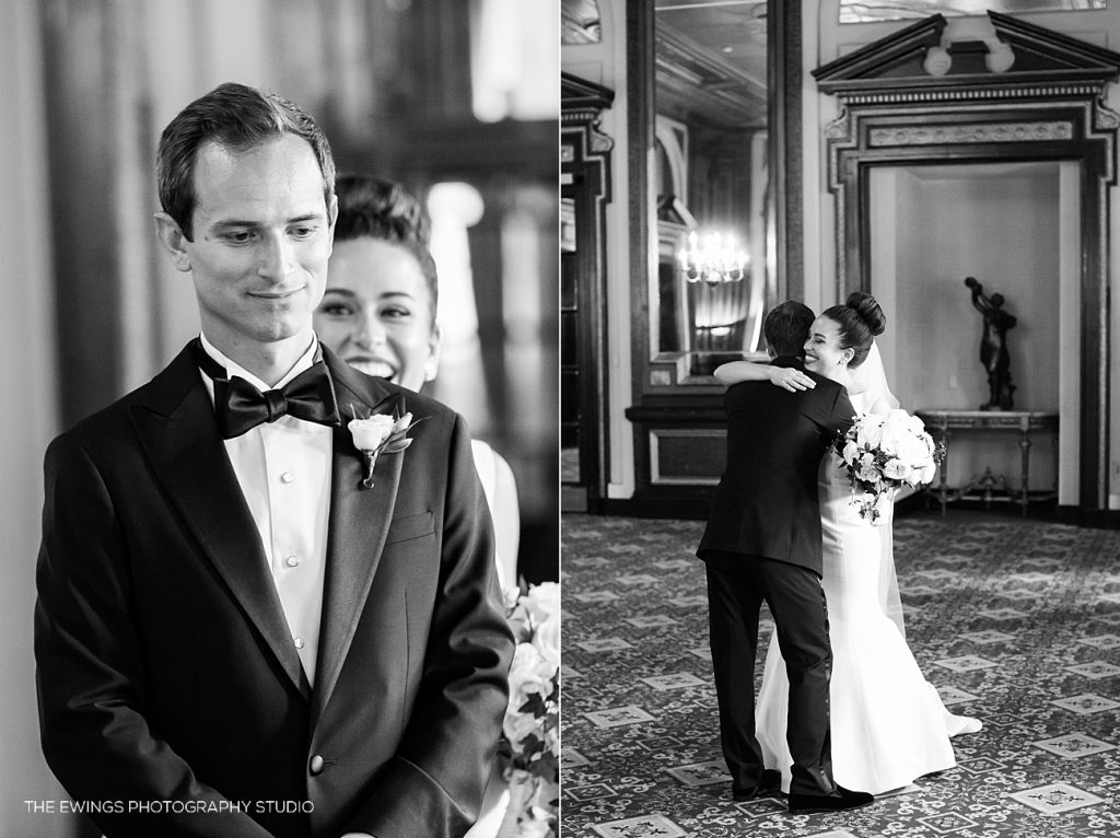 A Fairmont Copley Boston wedding first look for a bride and groom getting married at Boston Public Library.
