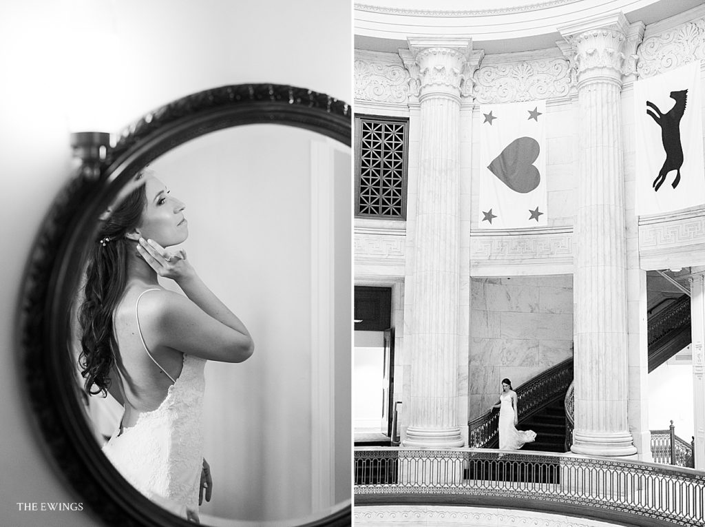 A Custom House wedding day with the bride coming down the iconic staircase.