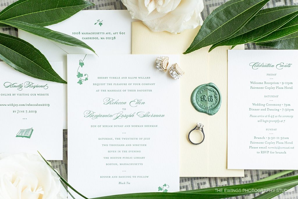 Gorgeous invitation suite for a Boston Public Library wedding with a secret garden theme.
