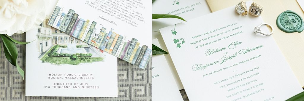 This Boston Public Library wedding had custom watercolor illustrations on the wedding invitation and wedding programs.