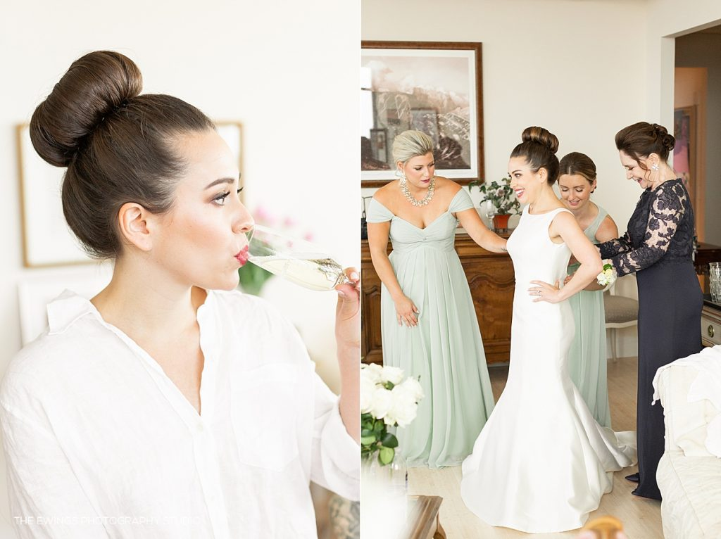 A bride getting ready at the Ritz Carlton Boston Common hotel penthouse.
