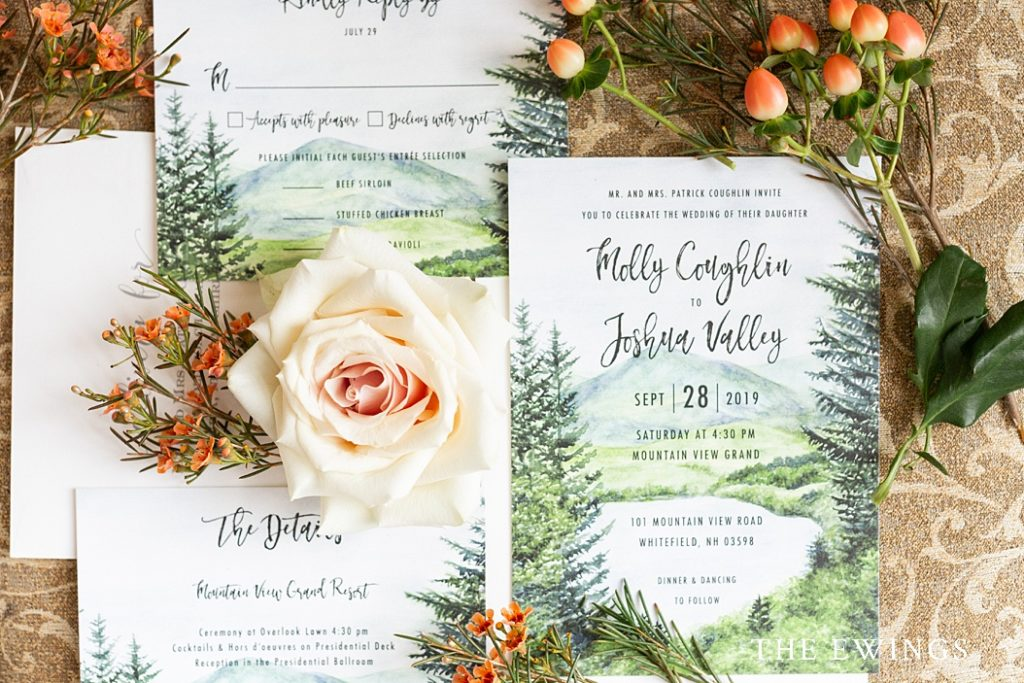 Mountain View Grand wedding invitation in white mountains NH.