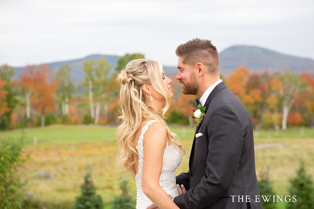 A bride and groom at Mountain View Grand in NH's white mountains.