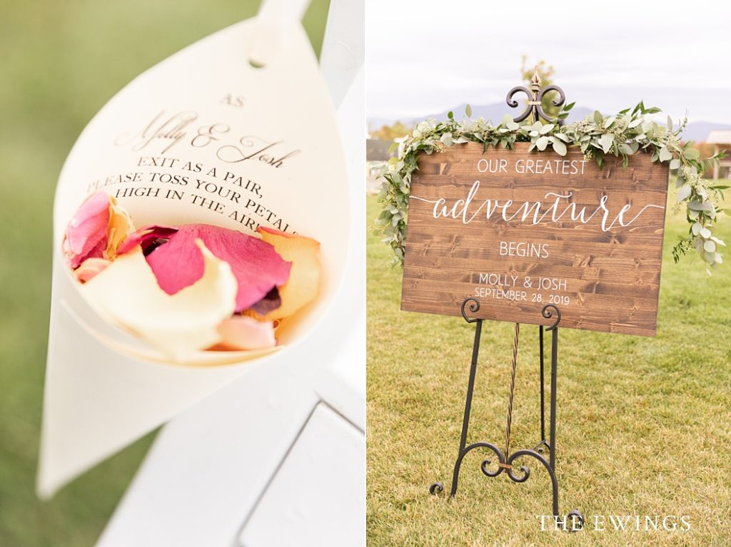 I love these wedding ceremony details, with petals for tossing and a custom wood sign to welcome guests.