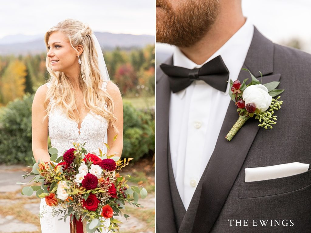 Warm foliage colors for this NH fall wedding in New England.