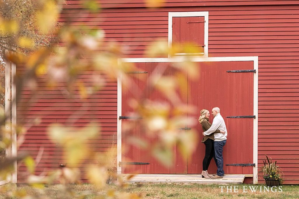 This is a beautiful fall foliage engagement session location with red barn at Wayside Inn in Central Mass.