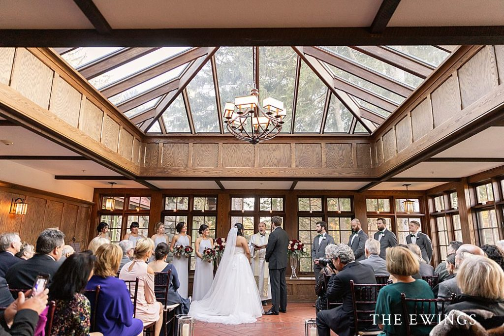 An indoor wedding ceremony at Willowdale Estate.