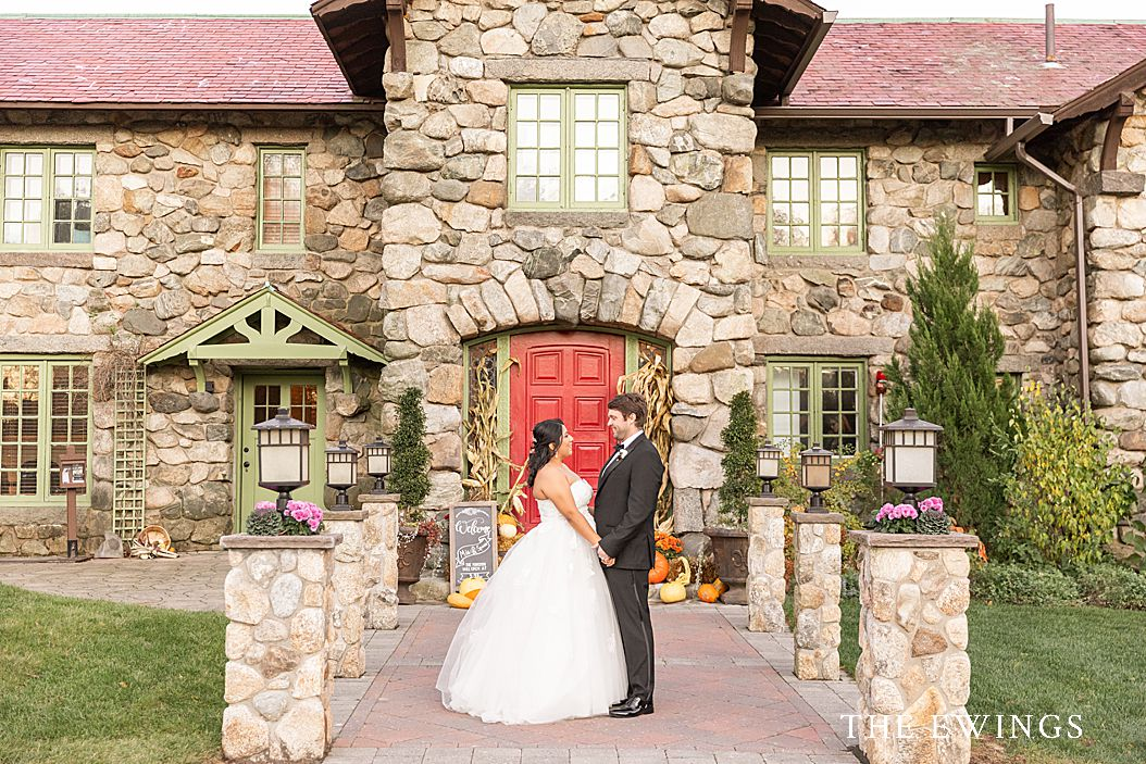 A Willowdale Estate wedding in Topsfield MA, at a historic stone mansion in the Fall.