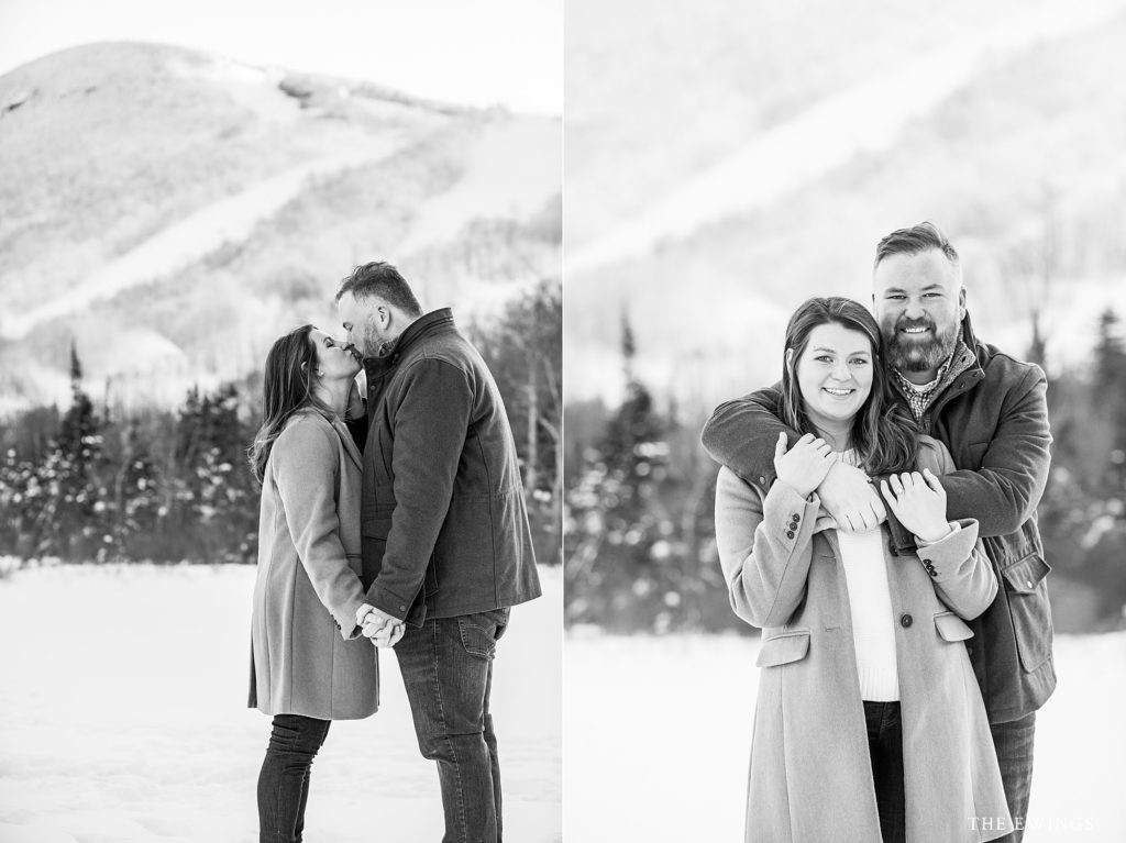 Echo Lake is an epic location for a White Mountains engagement session, with mountain backdrop.