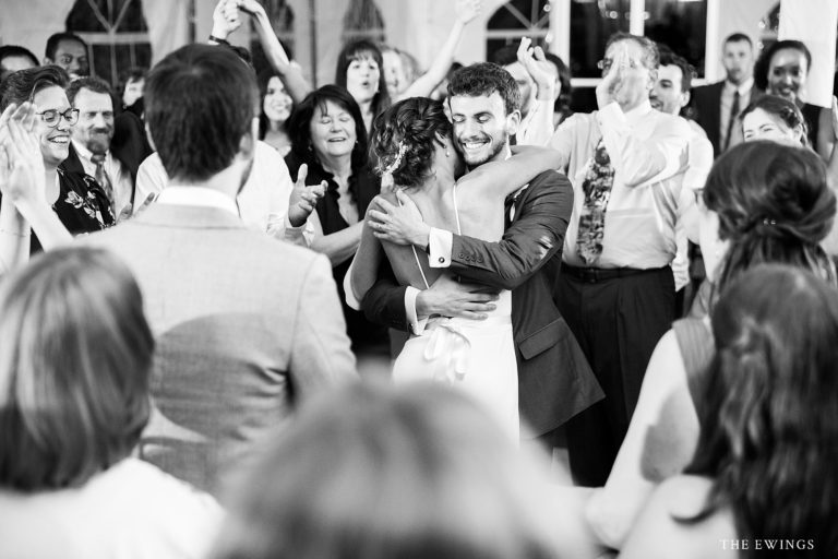 A moment on the dance floor at Zukas in Spencer, a unique farm wedding venue.