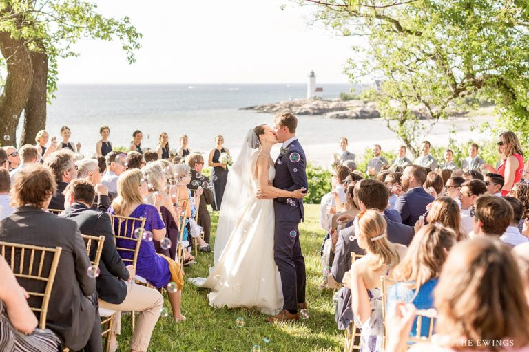 Melissa & Evan's annisquam lighthouse oceanfront wedding ceremony in Gloucester MA.