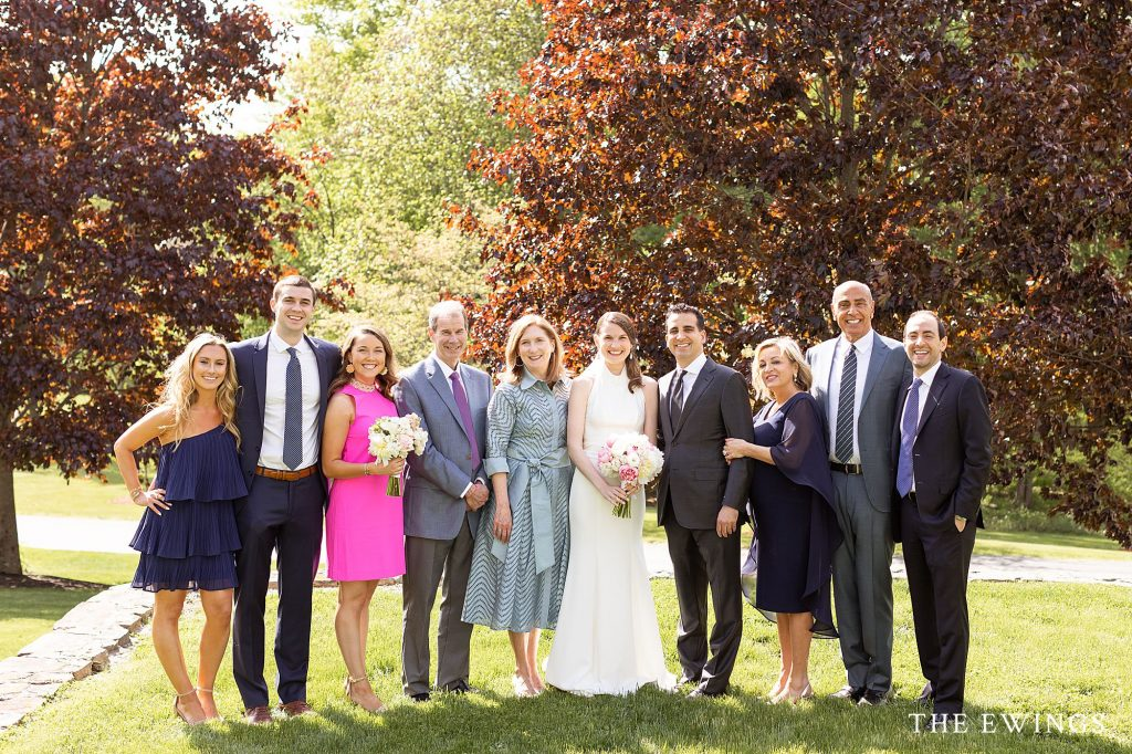 Family portraits during a small backyard wedding in Acton MA.