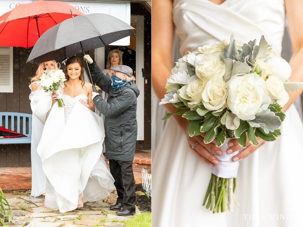 A bride headed to her Cape Cod trolley on a rainy day for this A bride getting ready at a private residence for her intimate wedding elopement in Falmouth MA