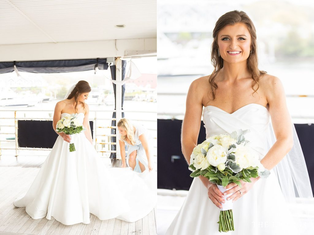 Bridal portraits at Flying Bridge Falmouth MA for their intimate wedding.