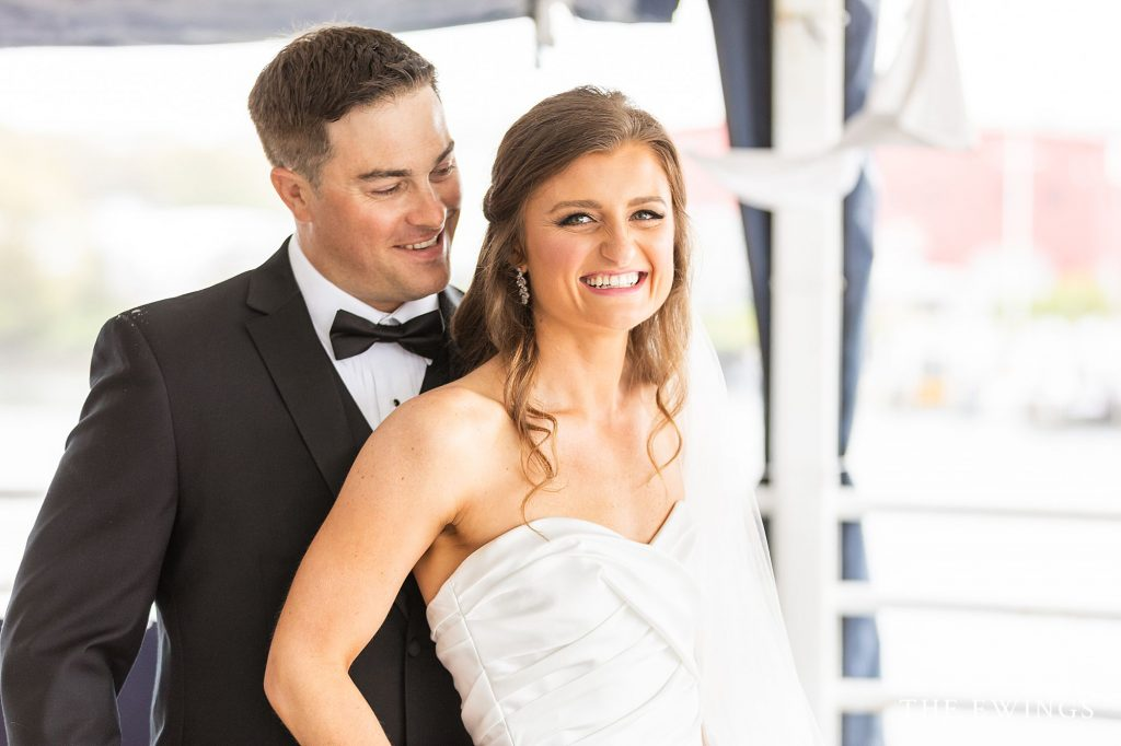 Bride and groom portraits at Flying Bridge Falmouth MA for their intimate wedding.