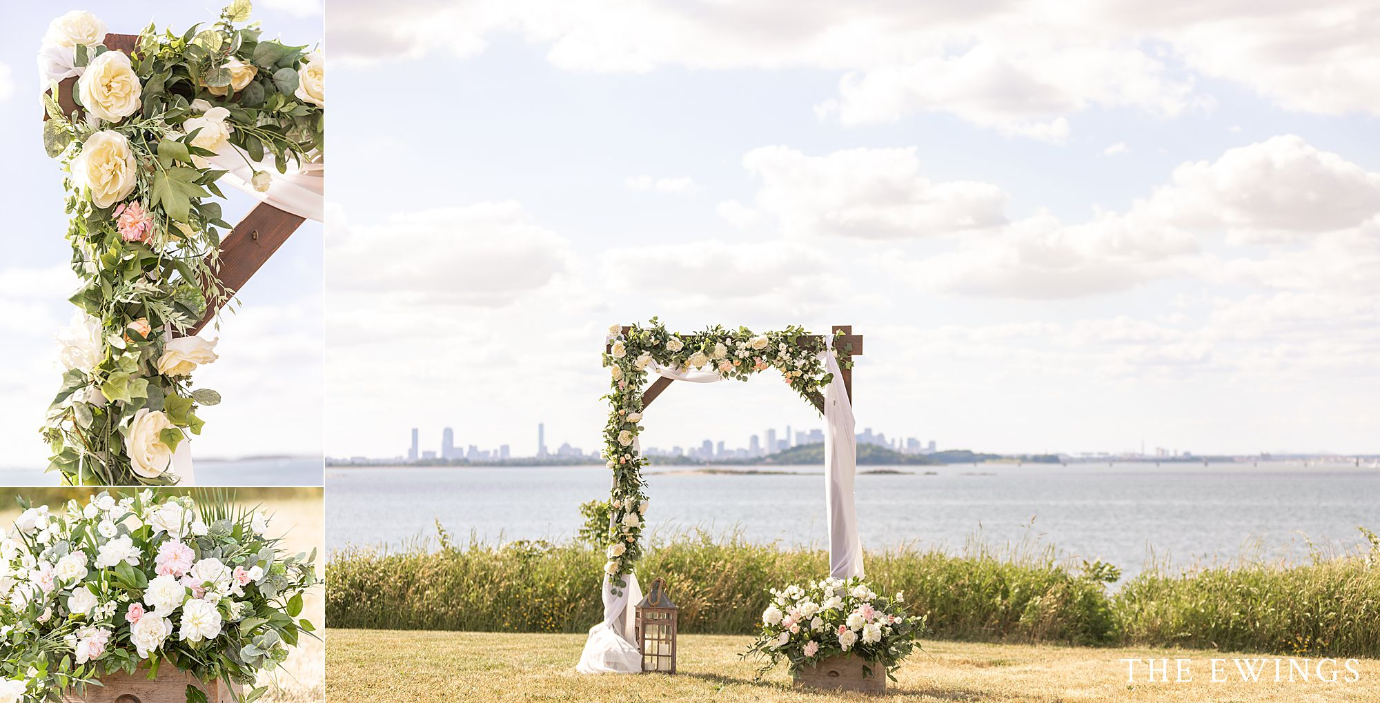 Wedding floral arch with the Boston skyline in the background, set up for an intimate micro wedding on a Boston Harbor Island.