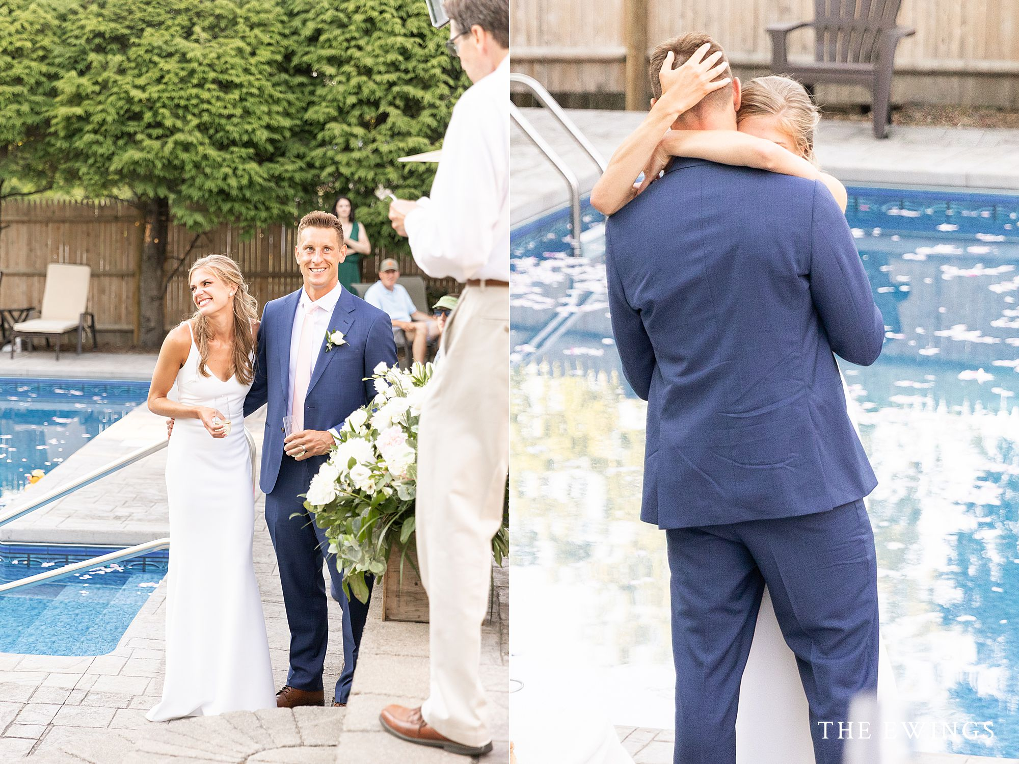 Backyard wedding with just their favorite people in Quincy MA, south shore.