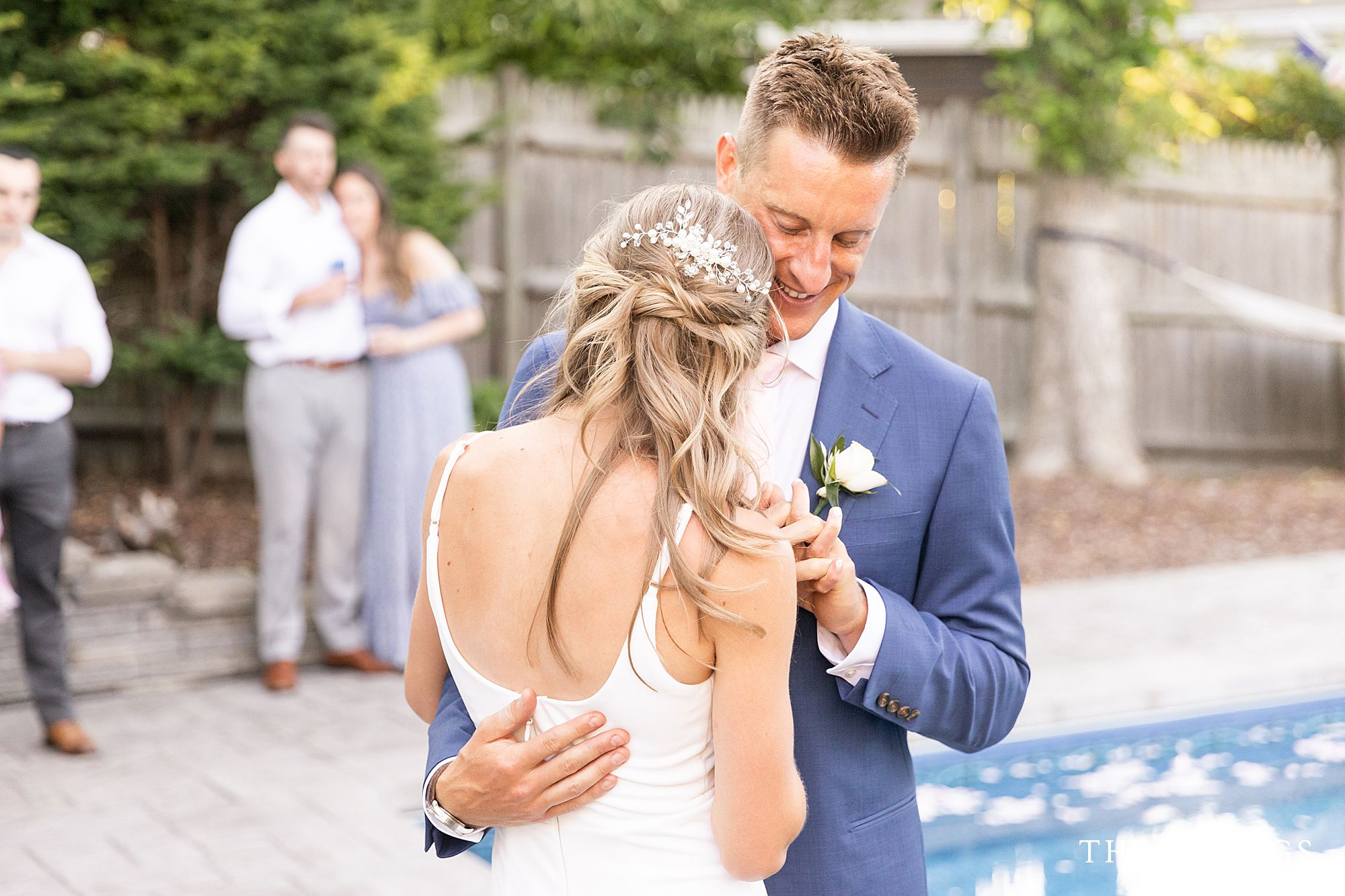 A backyard wedding in Quincy MA, after an intimate Boston Island wedding ceremony.