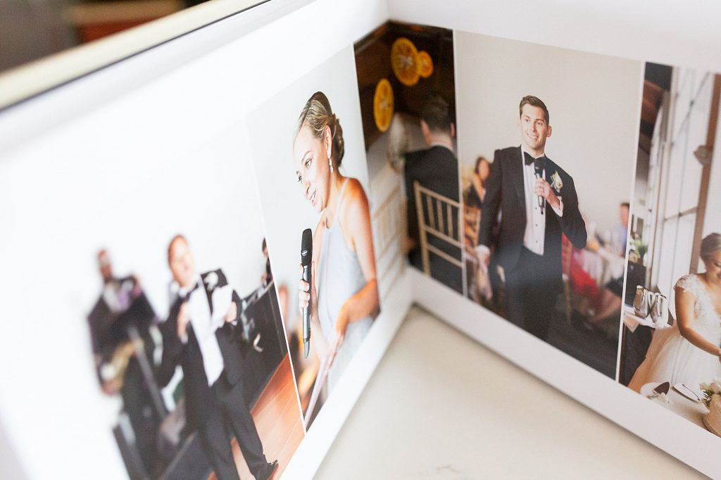 Here's an example of a Redtree wedding album with cream leather cover. This wedding album is from Cliff House in Ogunquit, by The Ewings Photography Studio.