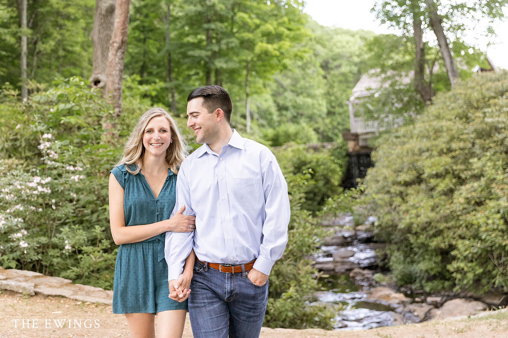 An engaged couple at Moore State Park celebration their engagement session.