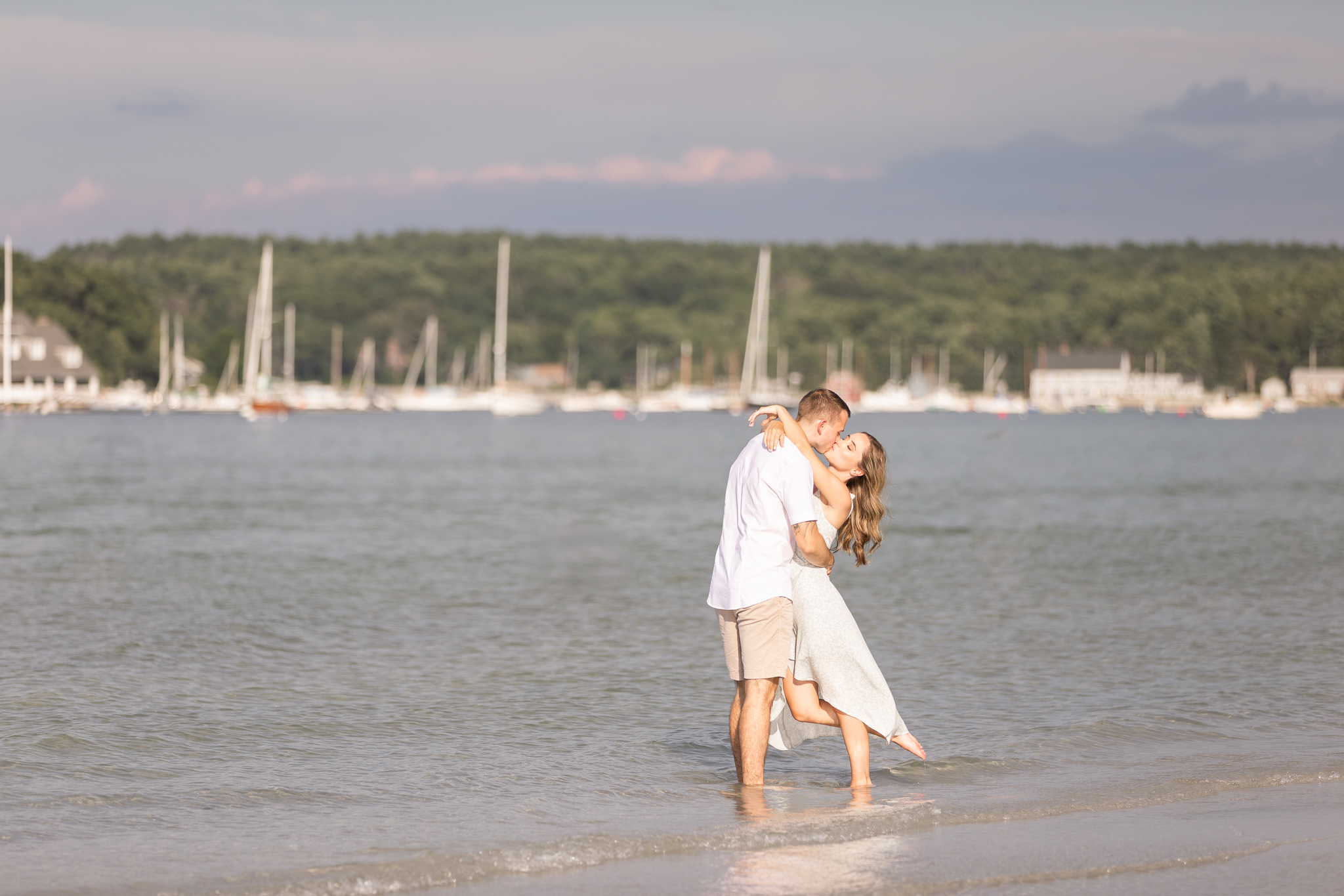 A dramatic engagement session oceanfront in Gloucester MA.