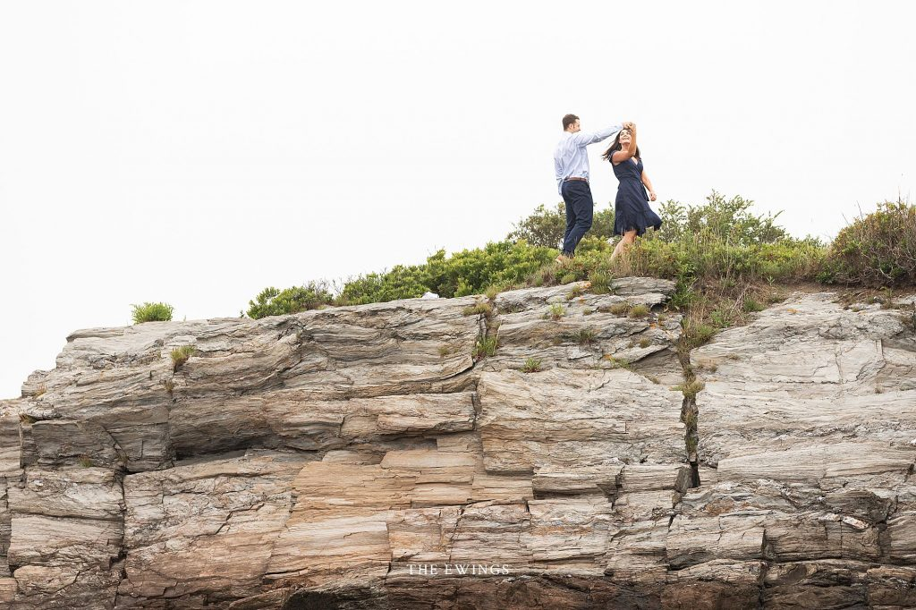 The Ewings, a Portland ME wedding photography and videography team, celebrated the engagement of Matt and Victoria along the cliffs south of Portland.