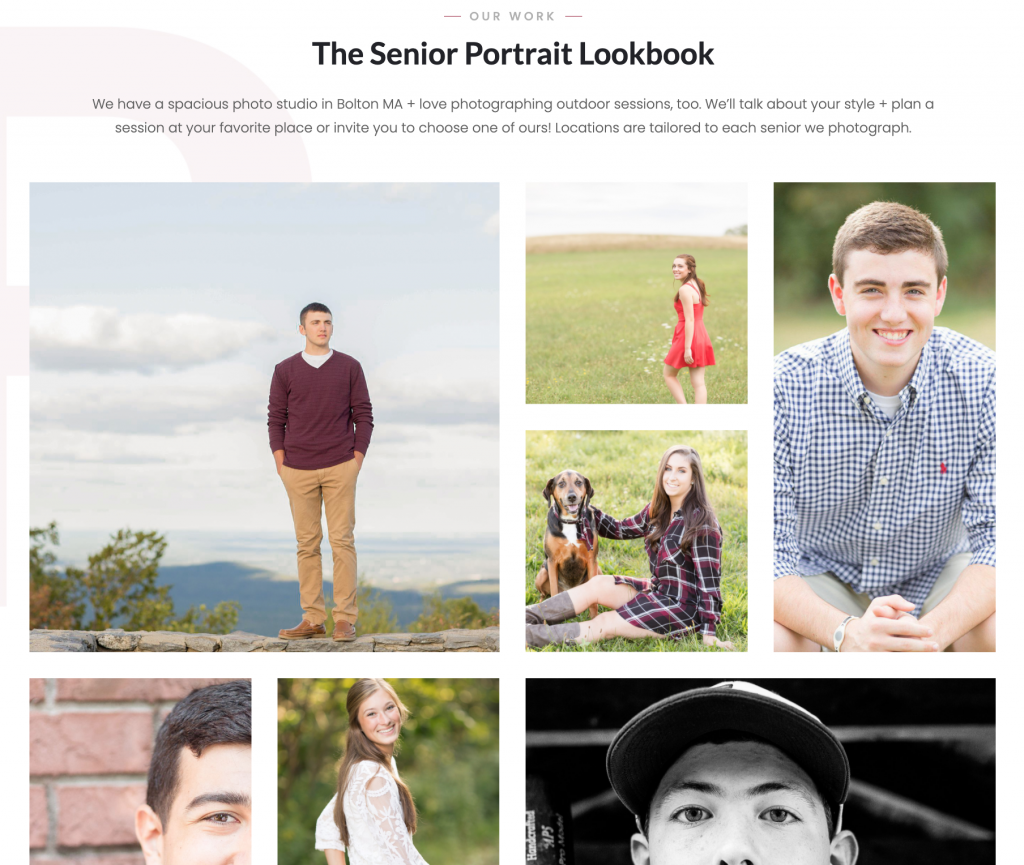 This is a senior portrait look book by The Ewings Photography Studio, the top senior portrait studio in Central Massachusetts and Metrowest Boston.