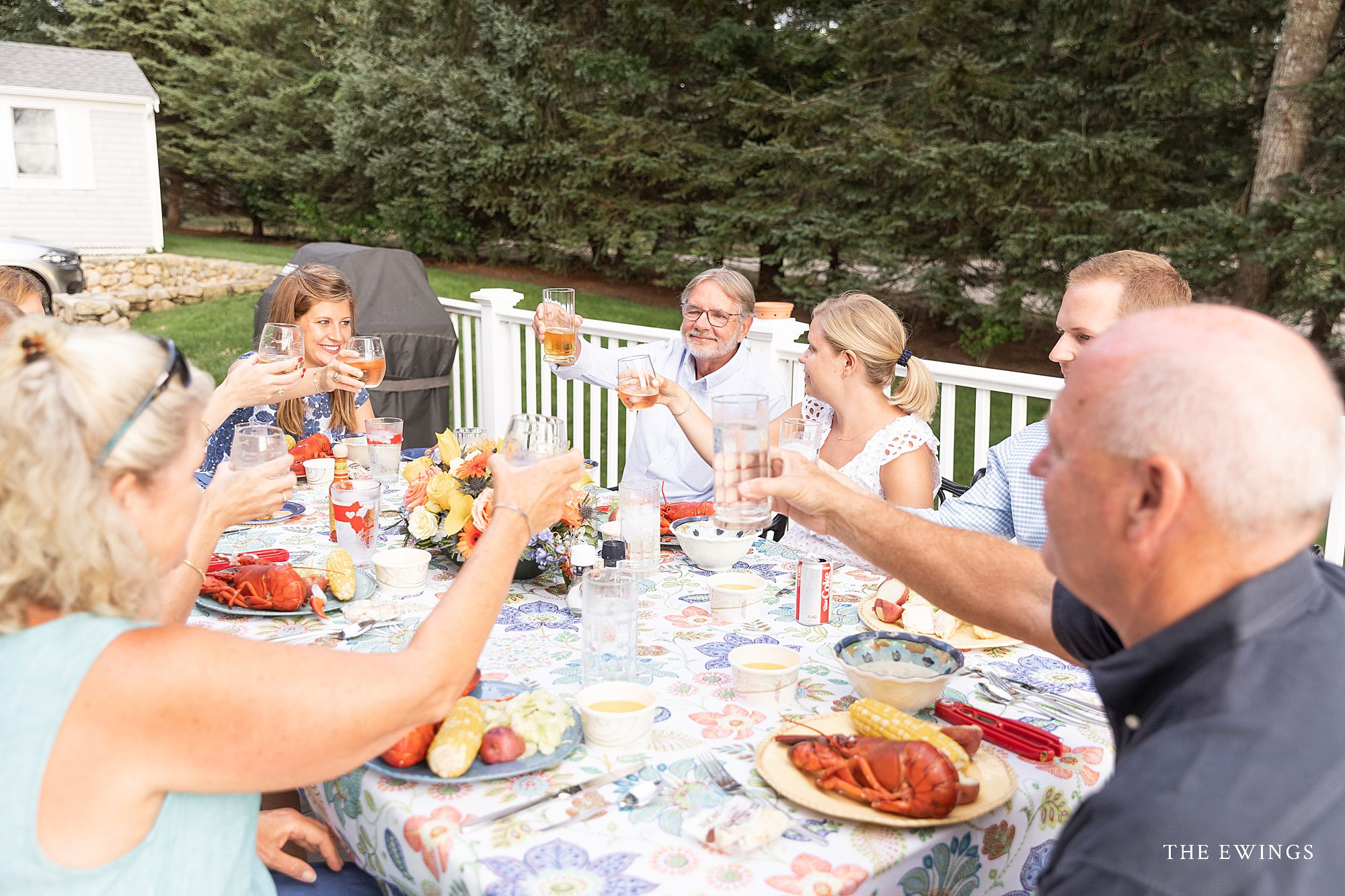 The best way to end an elopement micro wedding is with a clam bake! This 10 person wedding in Cotuit enjoyed lobsters and steamers at their intimate backyard wedding.