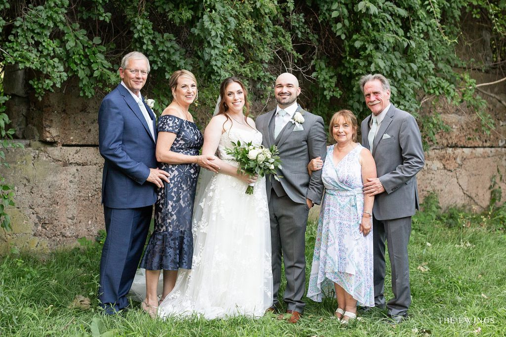 Family Portraits after a wedding ceremony at Gibbet Hill's Bancroft Castle Ruins in Groton MA.