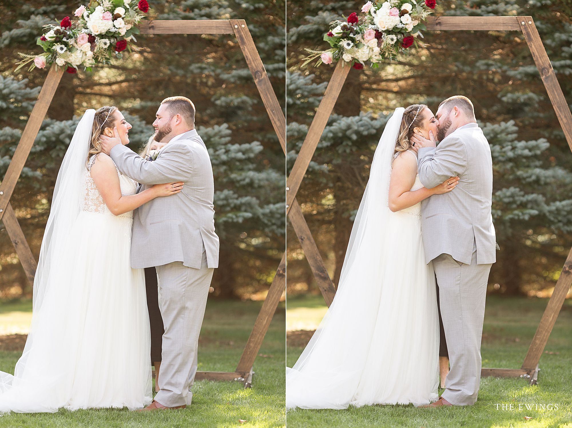 A bride and groom married in a backyard wedding with an octagon arbor for the ceremonyy