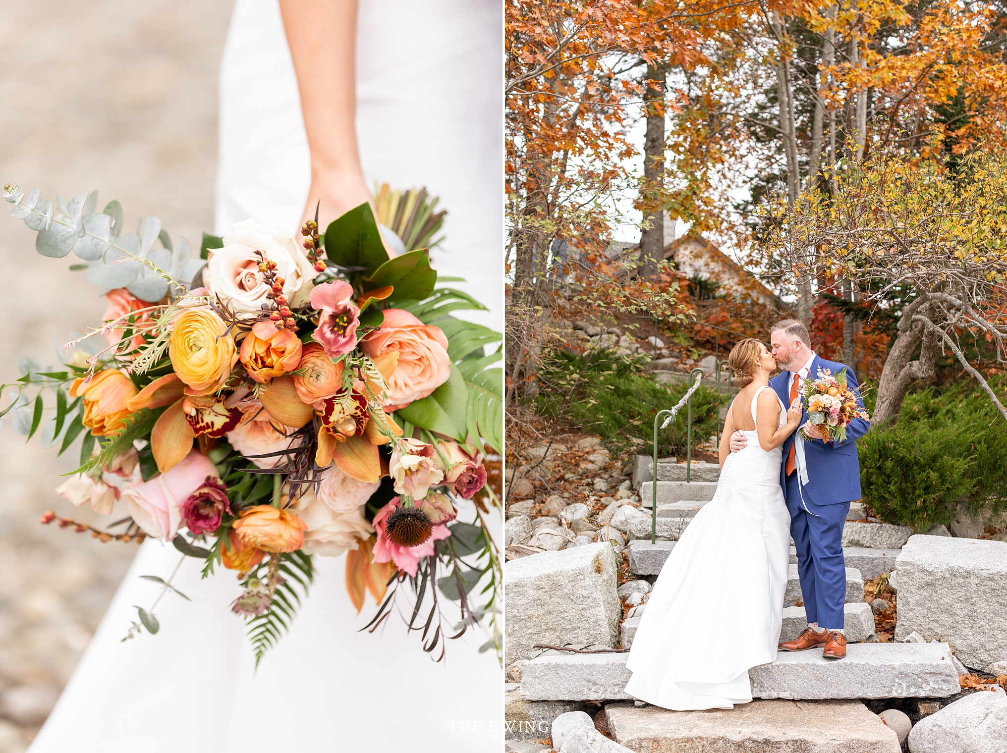 A fall wedding in Maine along the coast outside Bar Harbor in Midstate Maine.
